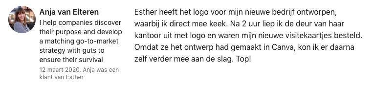 Anja Linkedin review Essie goes