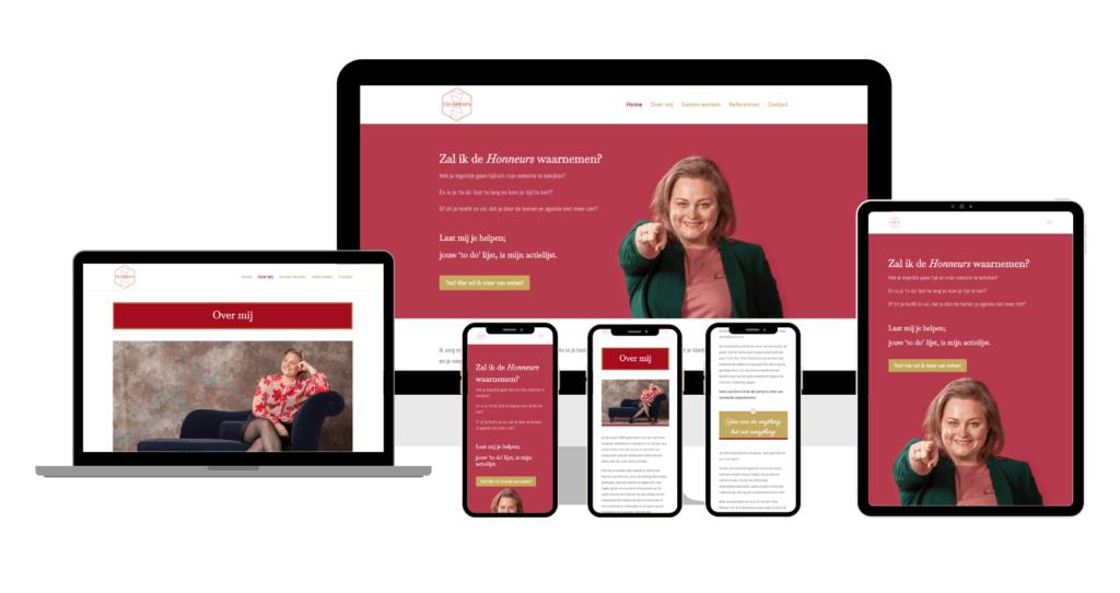 Honneurs website overzicht 3 phones