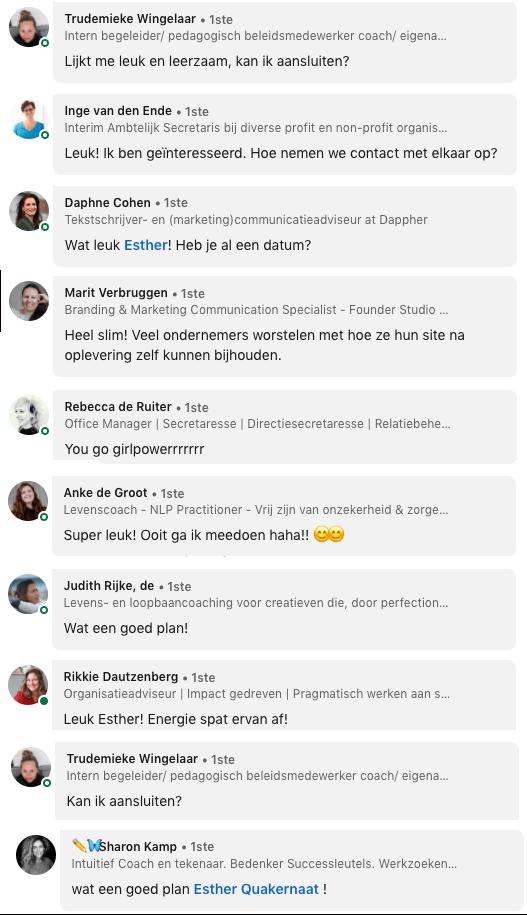 Reacties onder post samenwerkingsdag